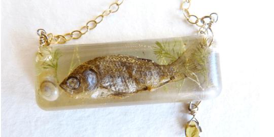 Grey Goldfish Necklace